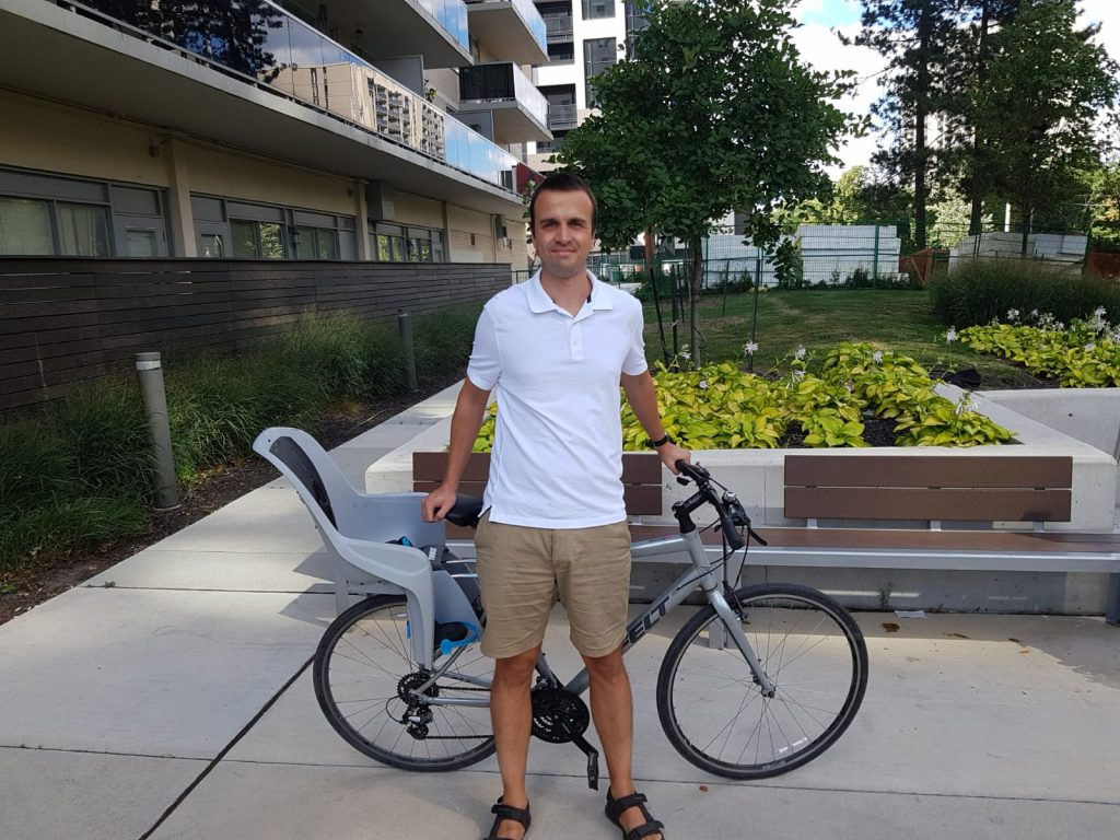 Another employee cycling to work for car-free day